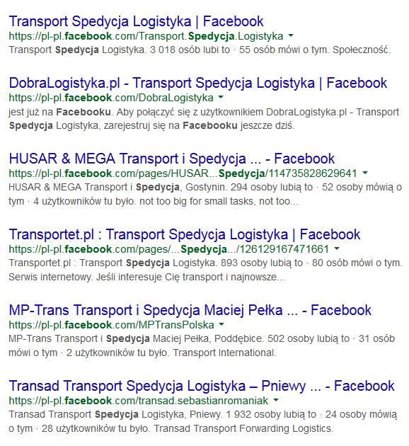 spedycja facebook google