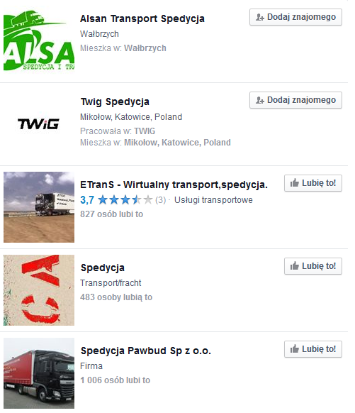 spedycja na facebooku
